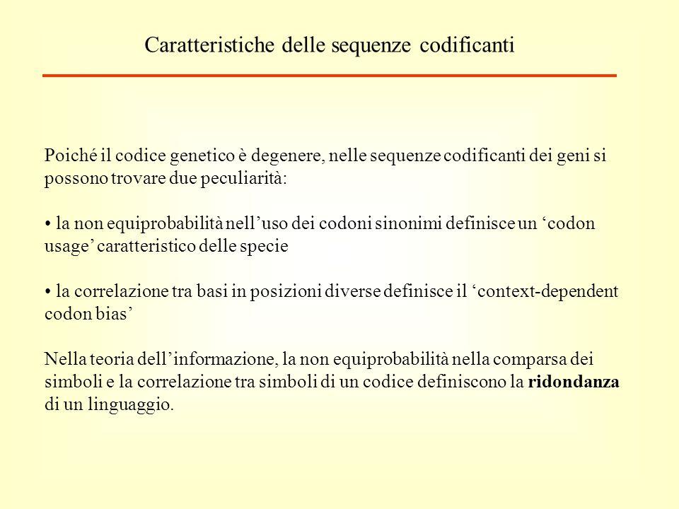 Caratteristiche delle sequenze codificanti