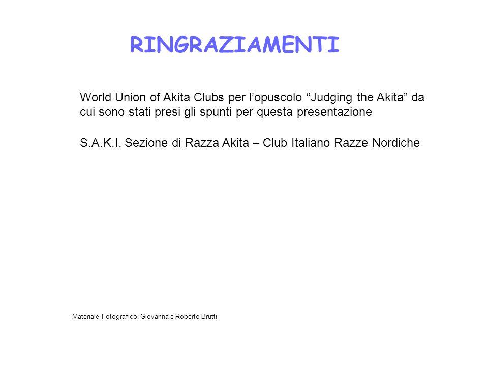 RINGRAZIAMENTI World Union of Akita Clubs per l'opuscolo Judging the Akita da cui sono stati presi gli spunti per questa presentazione.