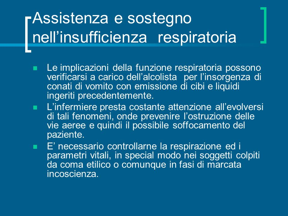Assistenza e sostegno nell'insufficienza respiratoria