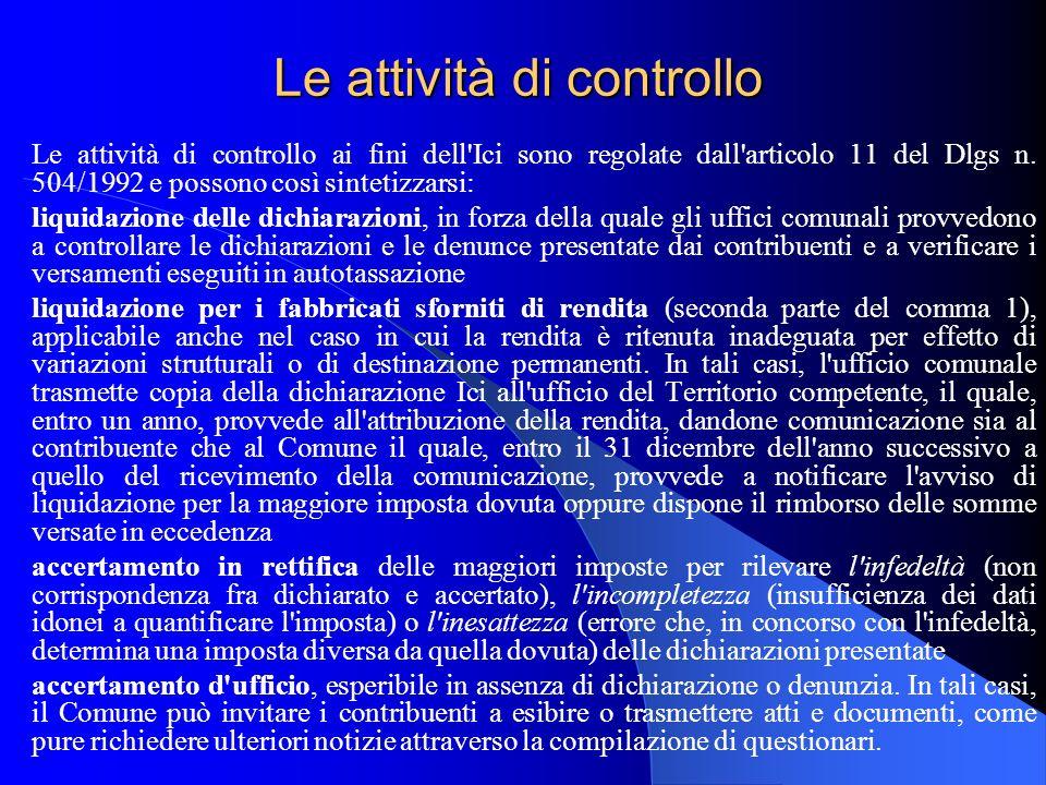 Le attività di controllo