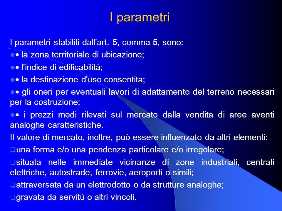 I parametri I parametri stabiliti dall'art. 5, comma 5, sono: