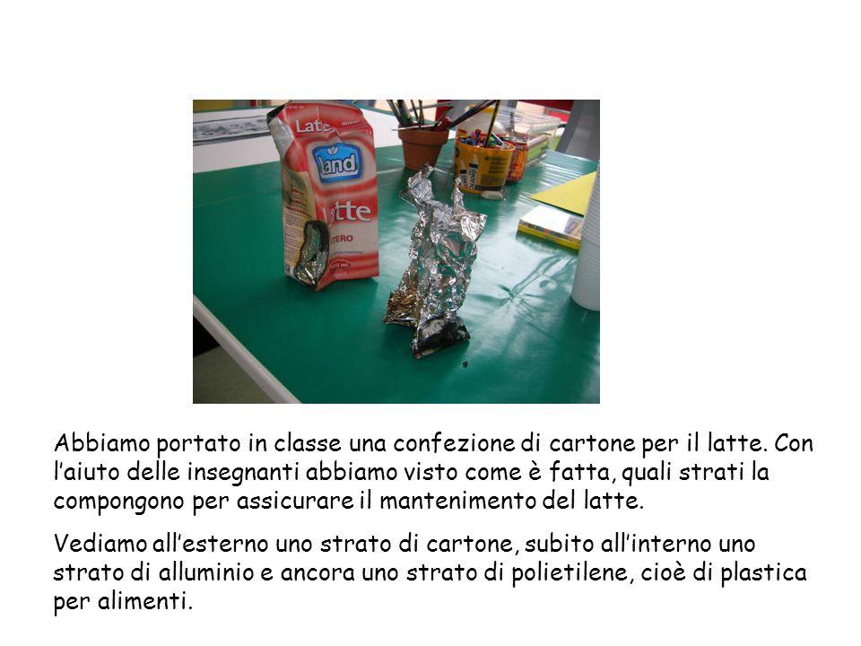Abbiamo portato in classe una confezione di cartone per il latte