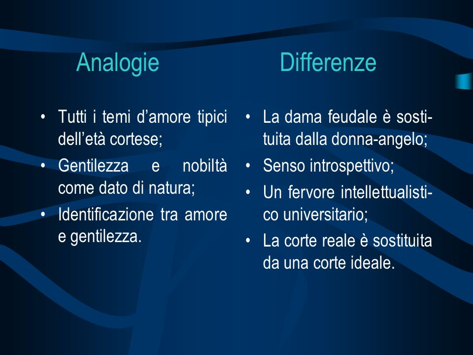Analogie Differenze Tutti i temi d'amore tipici dell'età cortese;