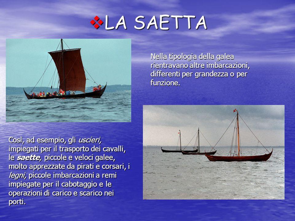 LA SAETTA Nella tipologia della galea rientravano altre imbarcazioni, differenti per grandezza o per funzione.