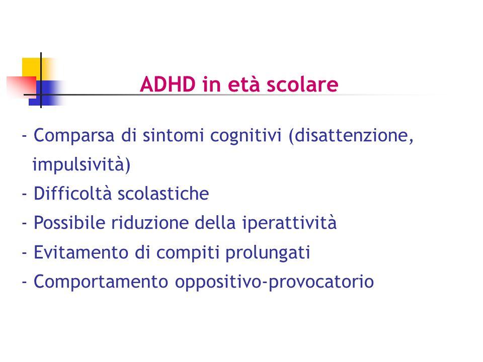 ADHD in età scolare Comparsa di sintomi cognitivi (disattenzione,