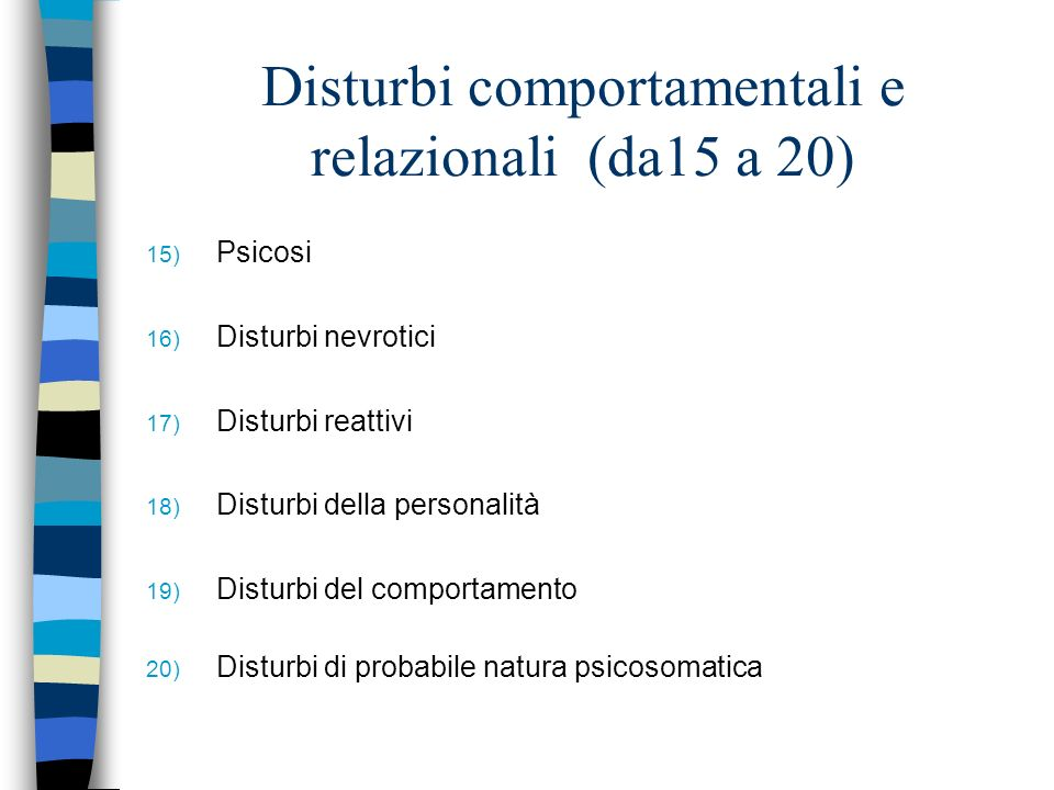 Disturbi comportamentali e relazionali (da15 a 20)