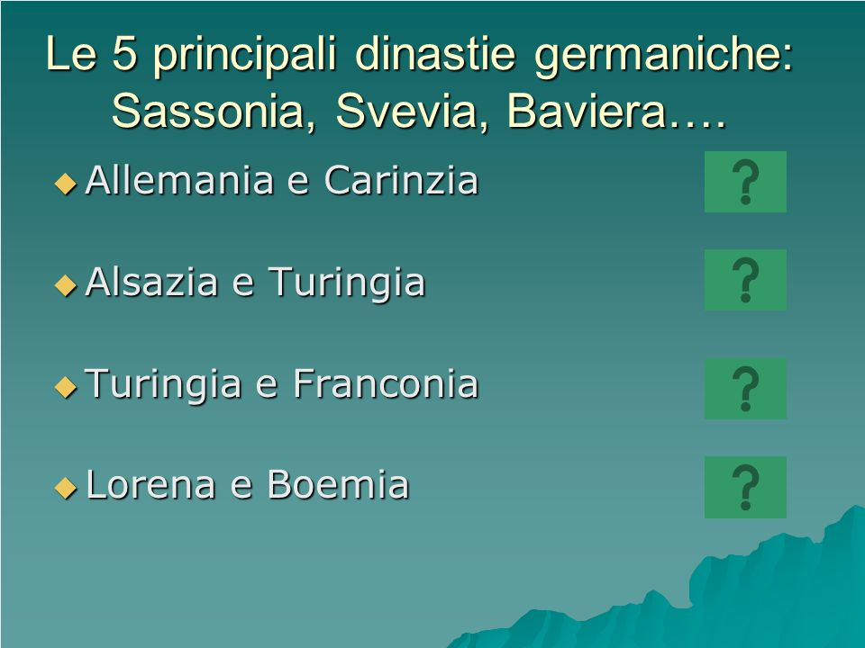Le 5 principali dinastie germaniche: Sassonia, Svevia, Baviera….