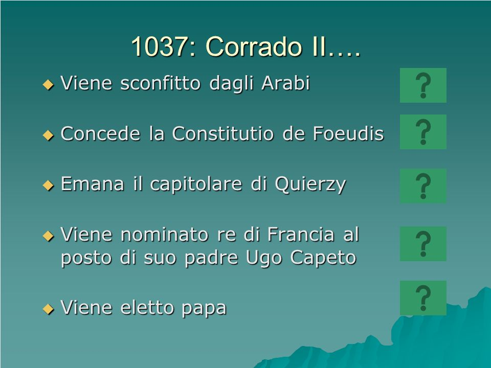 1037: Corrado II…. Viene sconfitto dagli Arabi