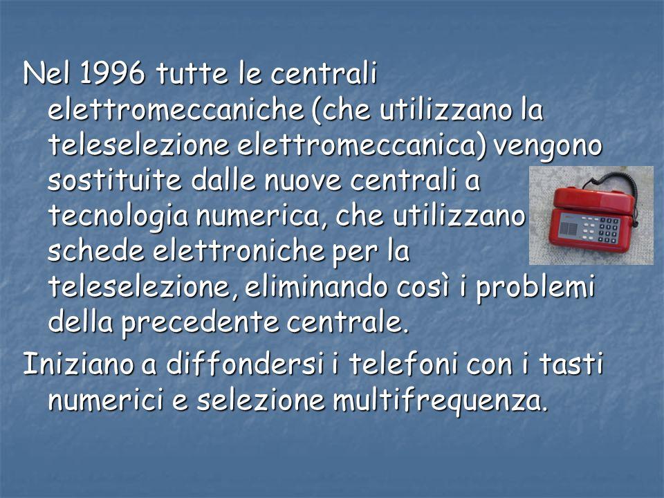 Nel 1996 tutte le centrali elettromeccaniche (che utilizzano la teleselezione elettromeccanica) vengono sostituite dalle nuove centrali a tecnologia numerica, che utilizzano schede elettroniche per la teleselezione, eliminando così i problemi della precedente centrale.