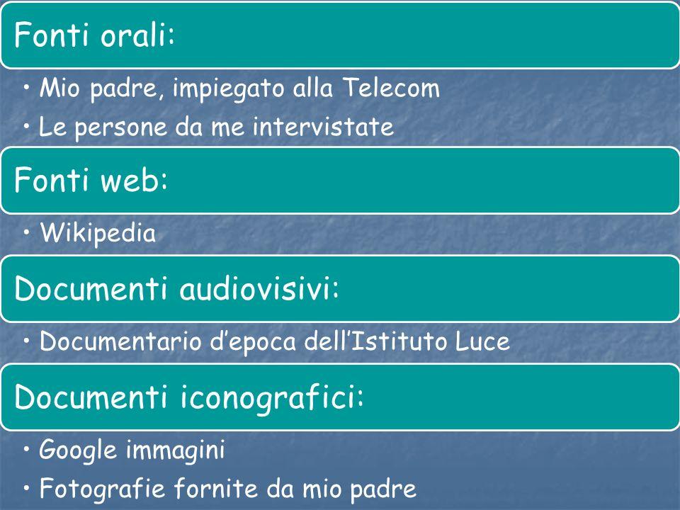 Fonti orali: Mio padre, impiegato alla Telecom. Le persone da me intervistate. Fonti web: Wikipedia.