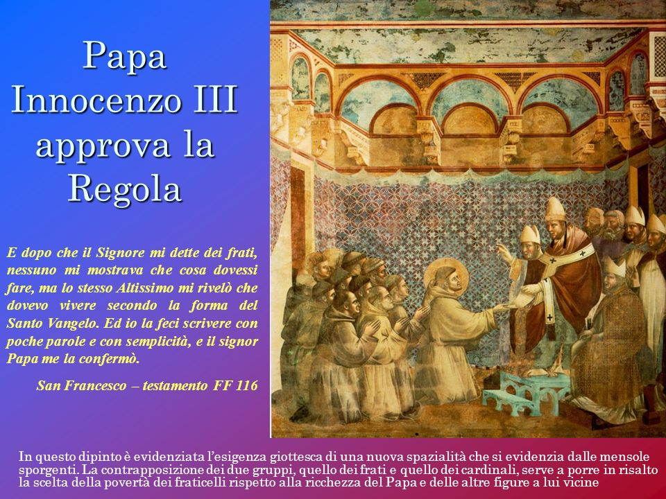 Papa Innocenzo III approva la Regola