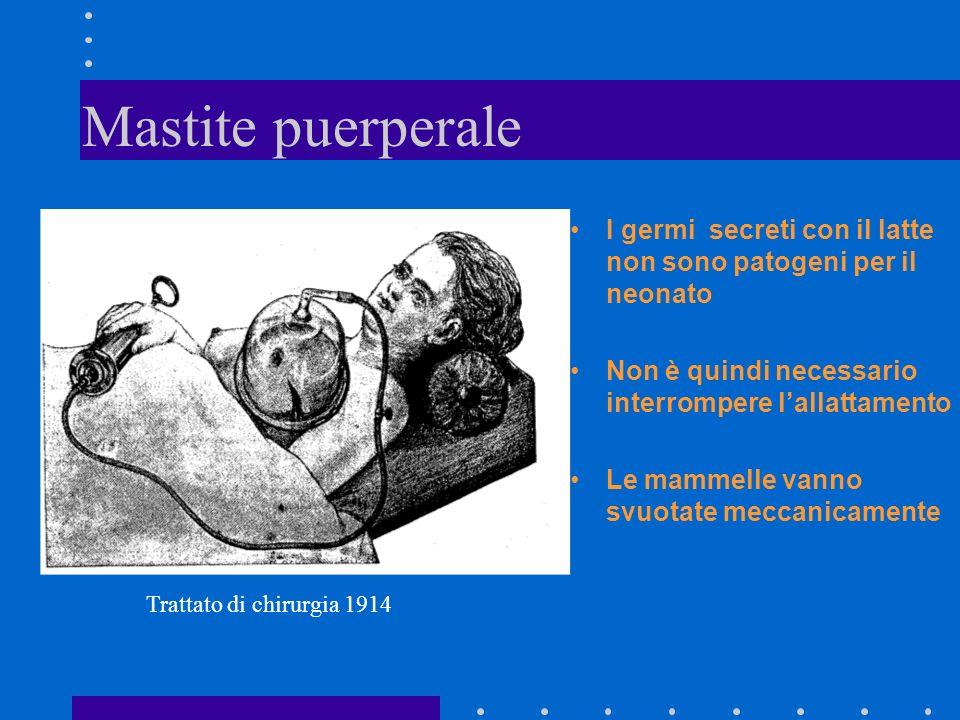 Mastite puerperale I germi secreti con il latte non sono patogeni per il neonato. Non è quindi necessario interrompere l'allattamento.