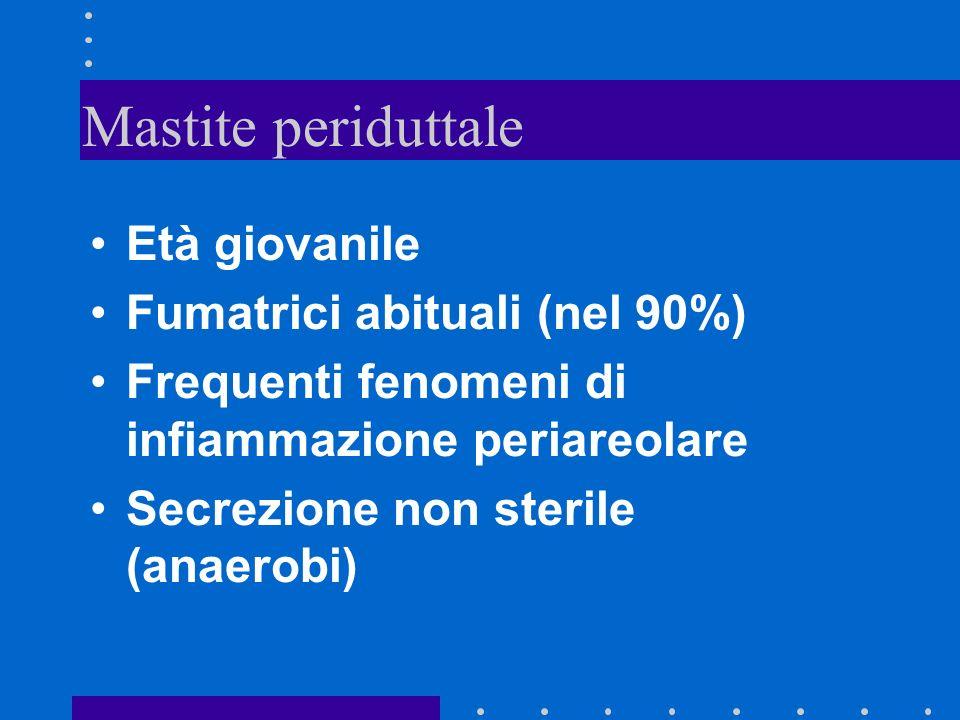 Mastite periduttale Età giovanile Fumatrici abituali (nel 90%)