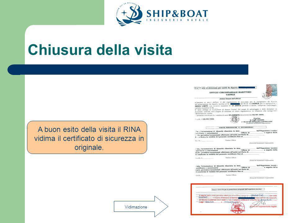 Chiusura della visita A buon esito della visita il RINA vidima il certificato di sicurezza in originale.