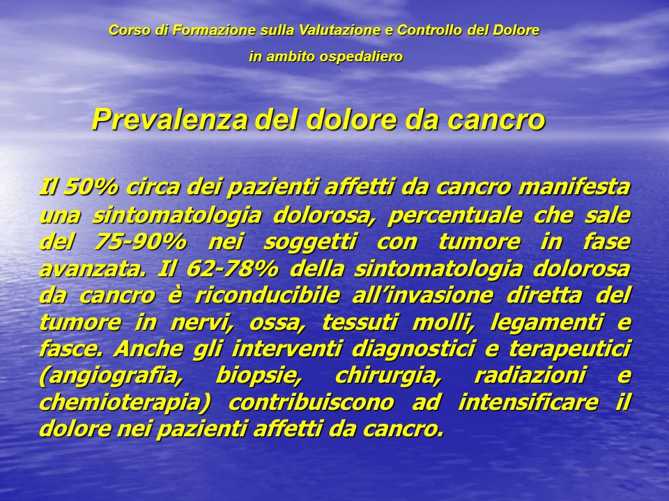 Prevalenza del dolore da cancro