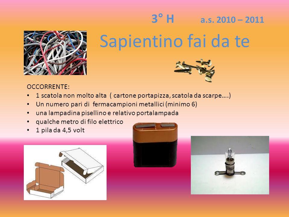 Sapientino fai da te 3° H a.s. 2010 – 2011 OCCORRENTE: