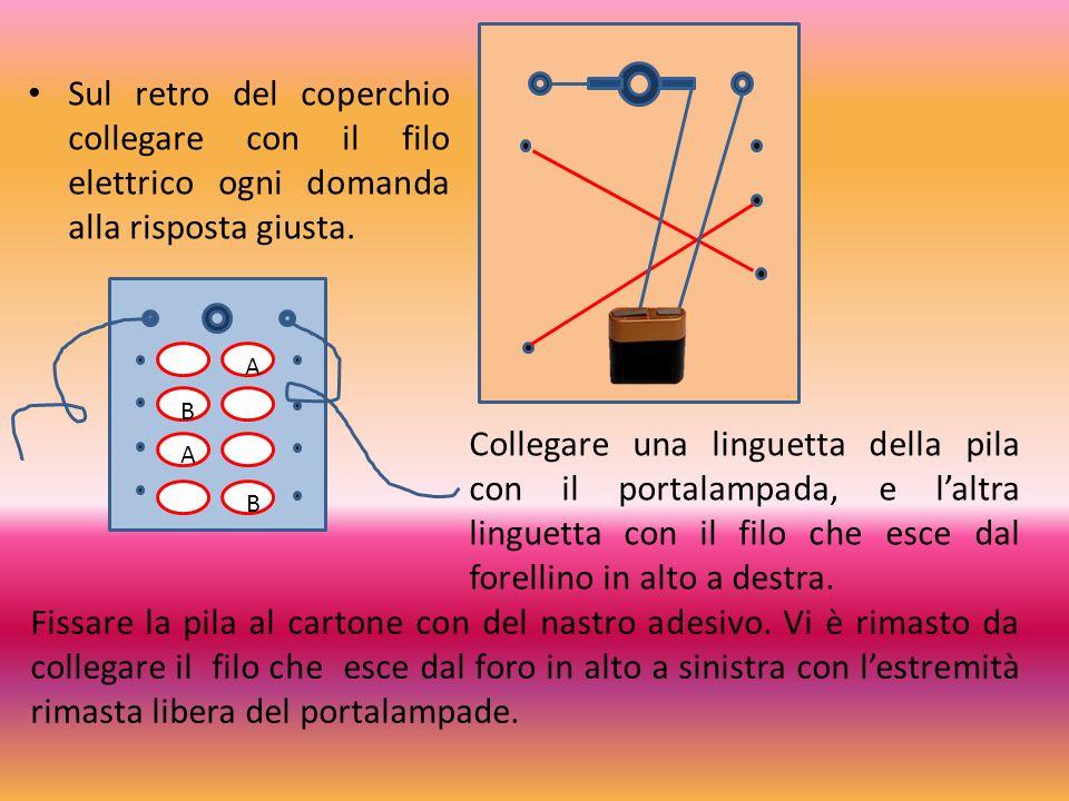 Sul retro del coperchio collegare con il filo elettrico ogni domanda alla risposta giusta.