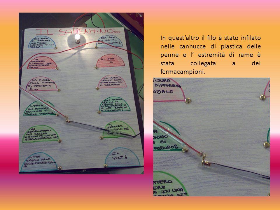 In quest'altro il filo è stato infilato nelle cannucce di plastica delle penne e l' estremità di rame è stata collegata a dei fermacampioni.