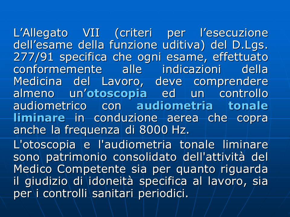 L'Allegato VII (criteri per l'esecuzione dell'esame della funzione uditiva) del D.Lgs. 277/91 specifica che ogni esame, effettuato conformemente alle indicazioni della Medicina del Lavoro, deve comprendere almeno un'otoscopia ed un controllo audiometrico con audiometria tonale liminare in conduzione aerea che copra anche la frequenza di 8000 Hz.