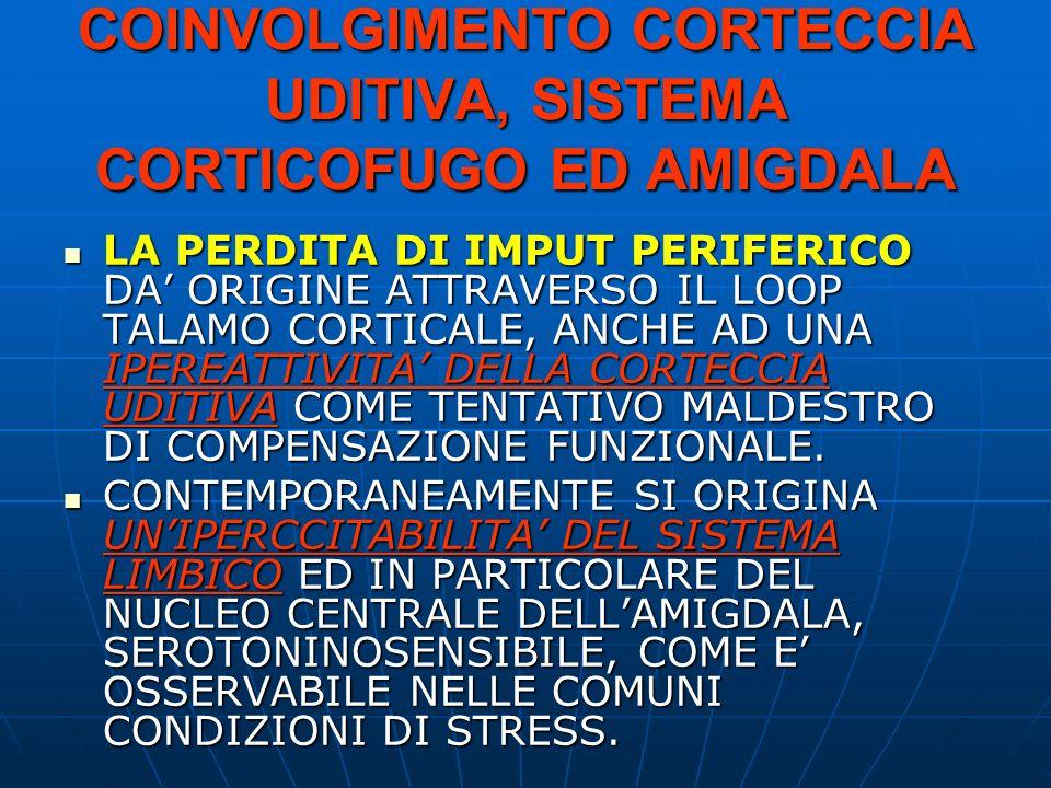 COINVOLGIMENTO CORTECCIA UDITIVA, SISTEMA CORTICOFUGO ED AMIGDALA