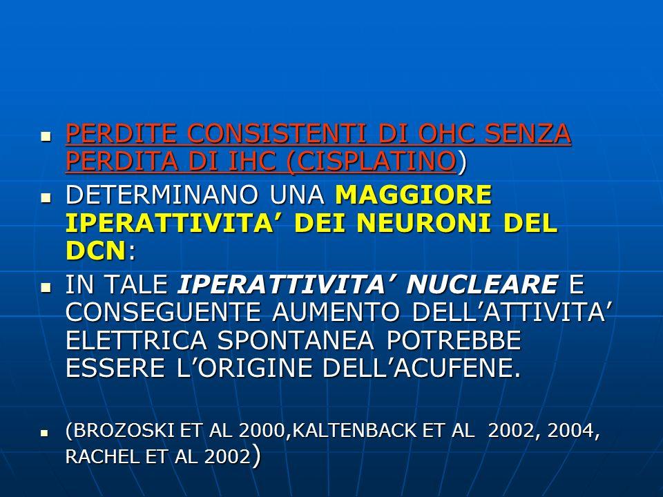 PERDITE CONSISTENTI DI OHC SENZA PERDITA DI IHC (CISPLATINO)