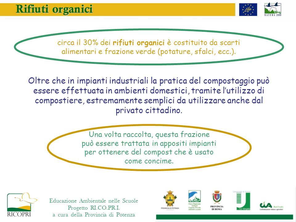Rifiuti organici circa il 30% dei rifiuti organici è costituito da scarti alimentari e frazione verde (potature, sfalci, ecc.).