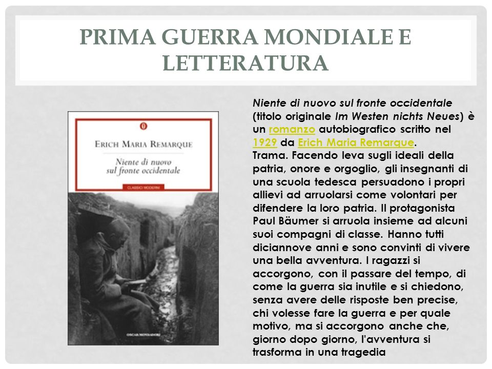 Prima guerra mondiale e letteratura