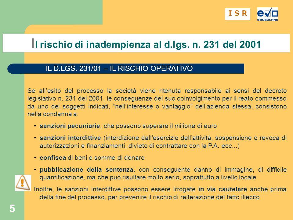 Il rischio di inadempienza al d.lgs. n. 231 del 2001