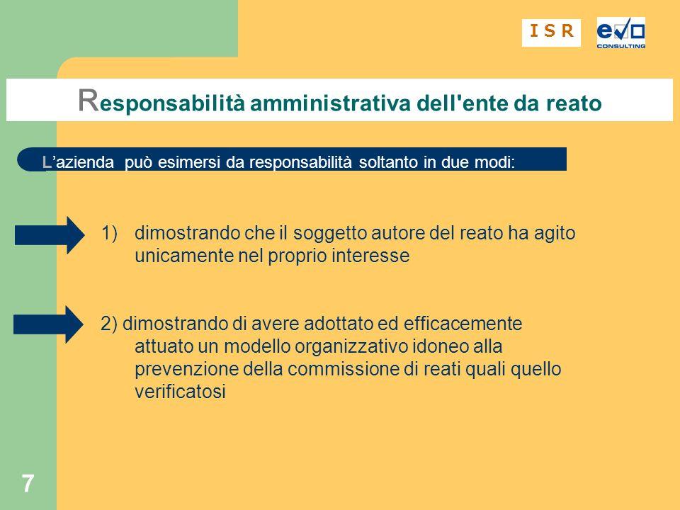 Responsabilità amministrativa dell ente da reato
