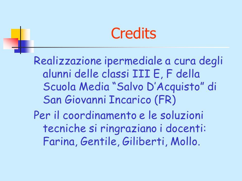 Credits Realizzazione ipermediale a cura degli alunni delle classi III E, F della Scuola Media Salvo D'Acquisto di San Giovanni Incarico (FR)