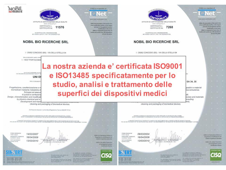La nostra azienda e' certificata ISO9001 e ISO13485 specificatamente per lo studio, analisi e trattamento delle superfici dei dispositivi medici
