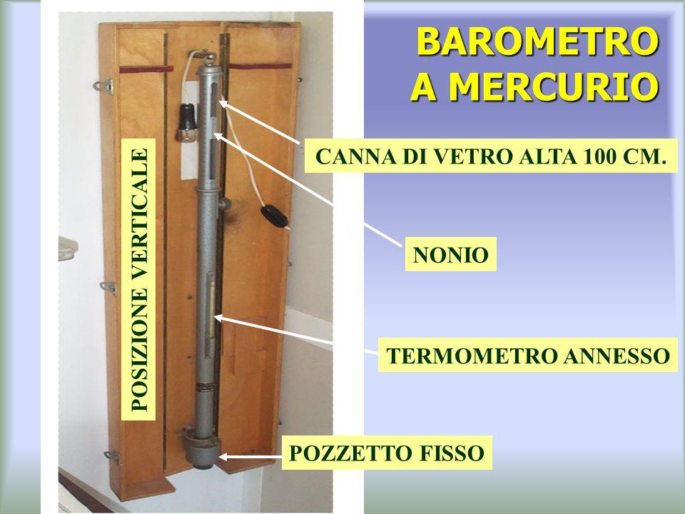 BAROMETRO A MERCURIO CANNA DI VETRO ALTA 100 CM. POSIZIONE VERTICALE