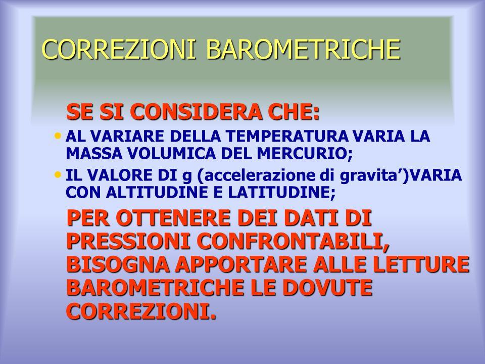 CORREZIONI BAROMETRICHE