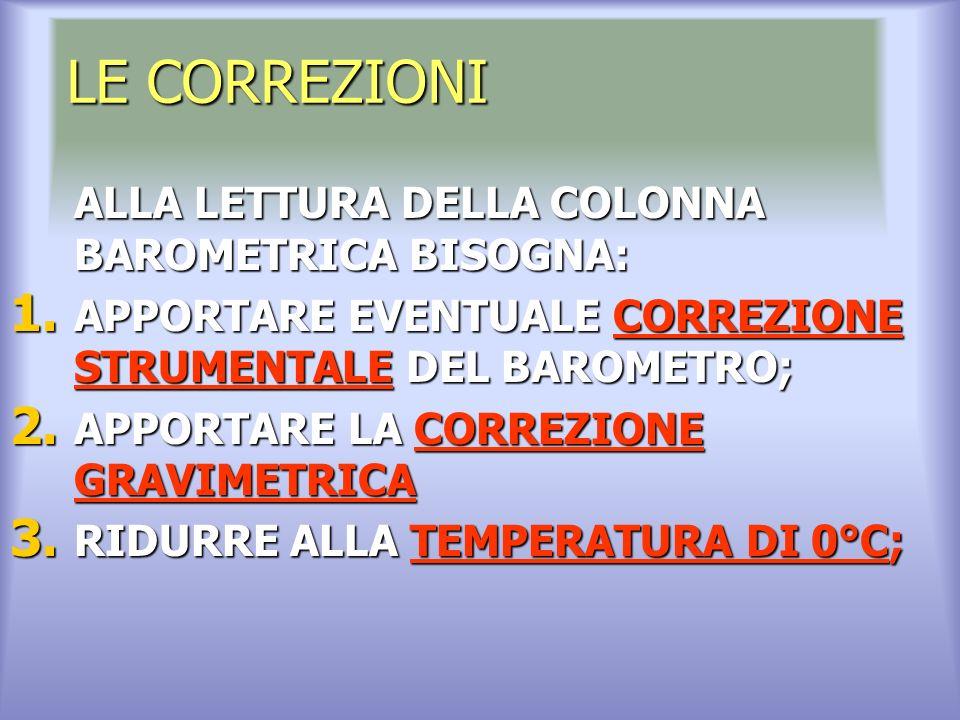 LE CORREZIONI ALLA LETTURA DELLA COLONNA BAROMETRICA BISOGNA:
