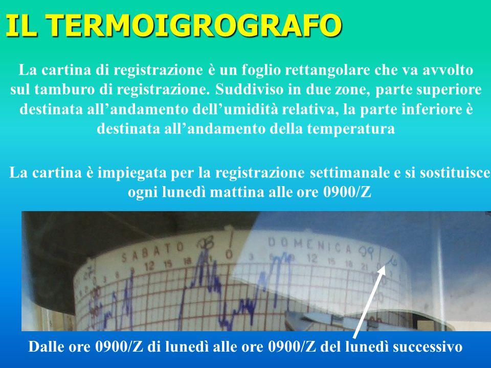 IL TERMOIGROGRAFO La cartina di registrazione è un foglio rettangolare che va avvolto.