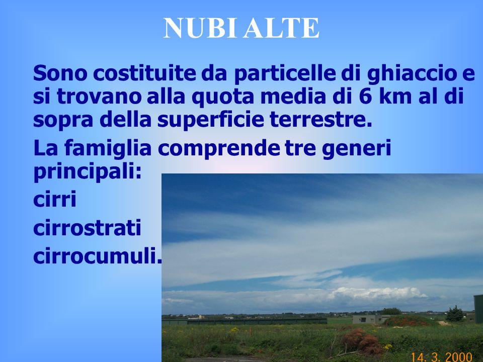 NUBI ALTE Sono costituite da particelle di ghiaccio e si trovano alla quota media di 6 km al di sopra della superficie terrestre.