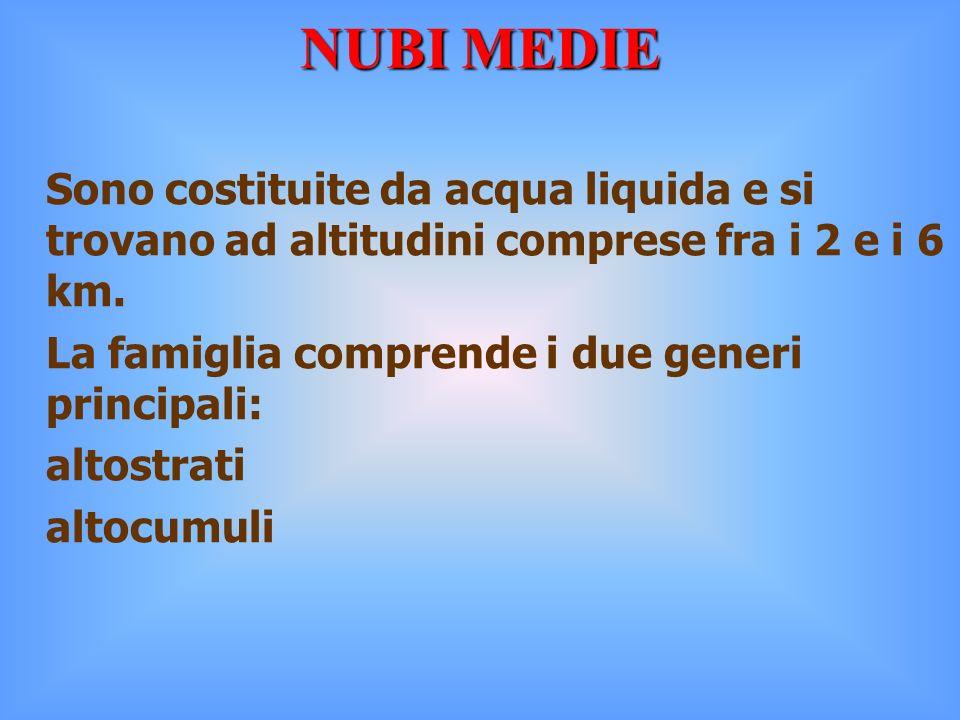 NUBI MEDIE Sono costituite da acqua liquida e si trovano ad altitudini comprese fra i 2 e i 6 km. La famiglia comprende i due generi principali: