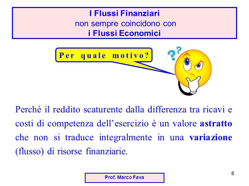 I Flussi Finanziari non sempre coincidono con i Flussi Economici