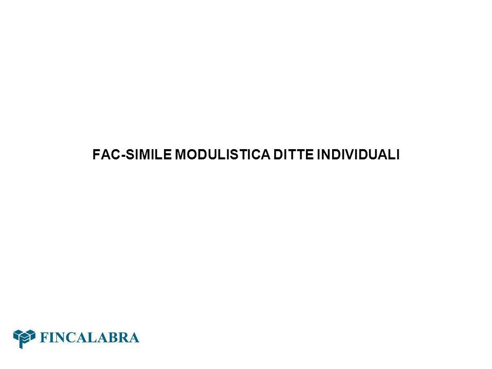 FAC-SIMILE MODULISTICA DITTE INDIVIDUALI