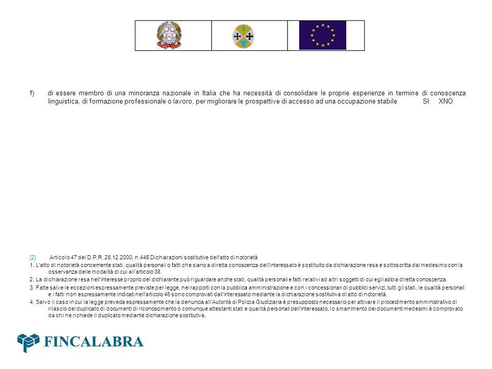 f) di essere membro di una minoranza nazionale in Italia che ha necessità di consolidare le proprie esperienze in termine di conoscenza linguistica, di formazione professionale o lavoro, per migliorare le prospettive di accesso ad una occupazione stabile SI XNO