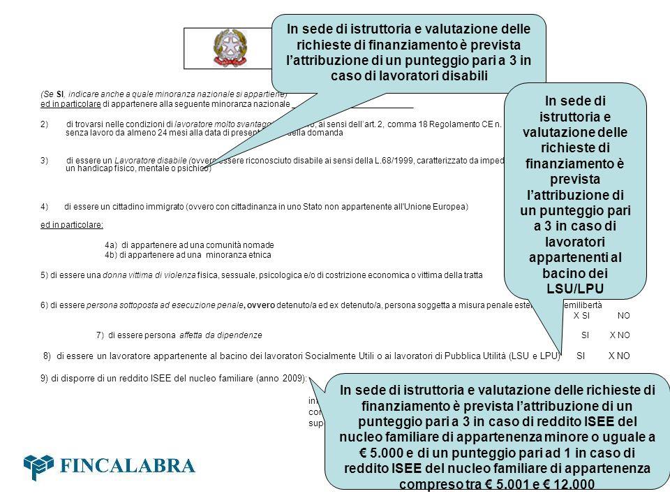 In sede di istruttoria e valutazione delle richieste di finanziamento è prevista l'attribuzione di un punteggio pari a 3 in caso di lavoratori disabili