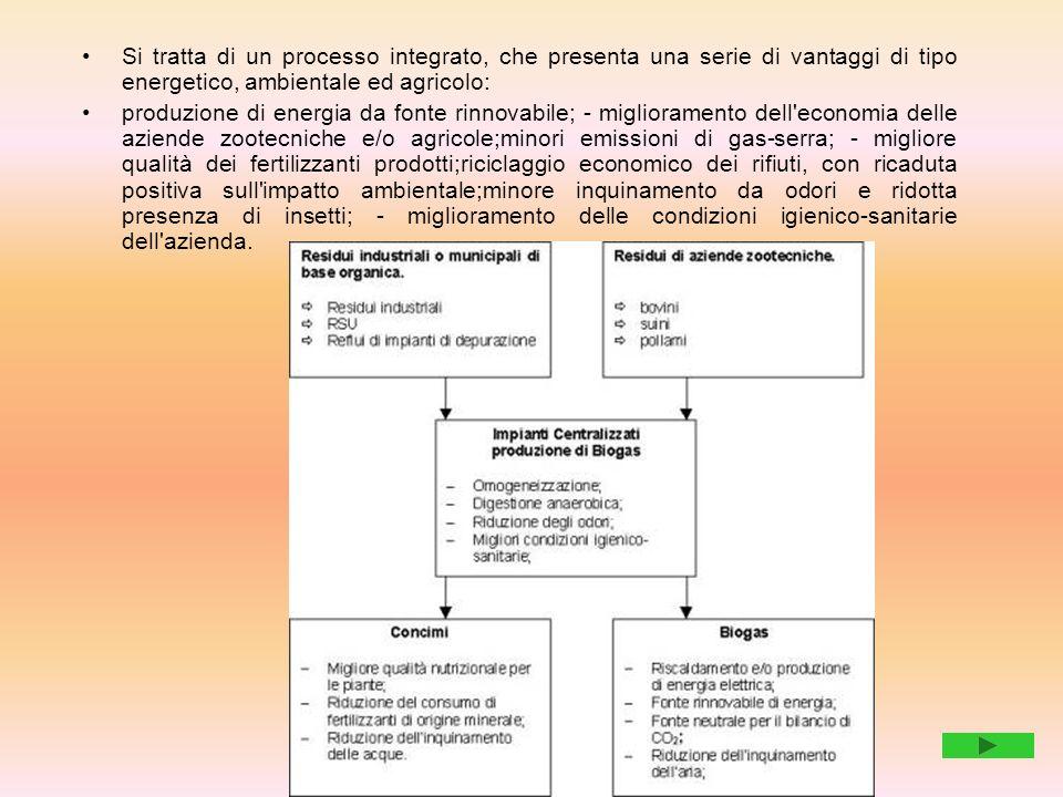Si tratta di un processo integrato, che presenta una serie di vantaggi di tipo energetico, ambientale ed agricolo: