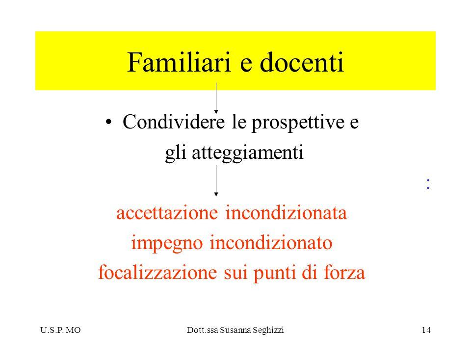 Familiari e docenti Condividere le prospettive e gli atteggiamenti :