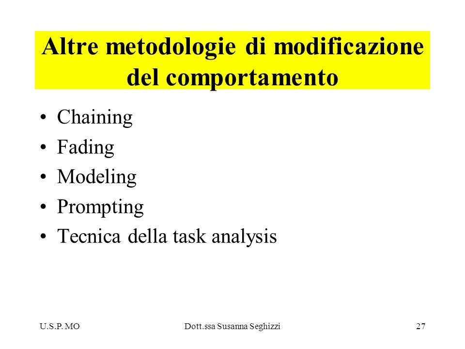 Altre metodologie di modificazione del comportamento