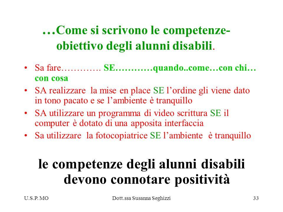 …Come si scrivono le competenze-obiettivo degli alunni disabili.
