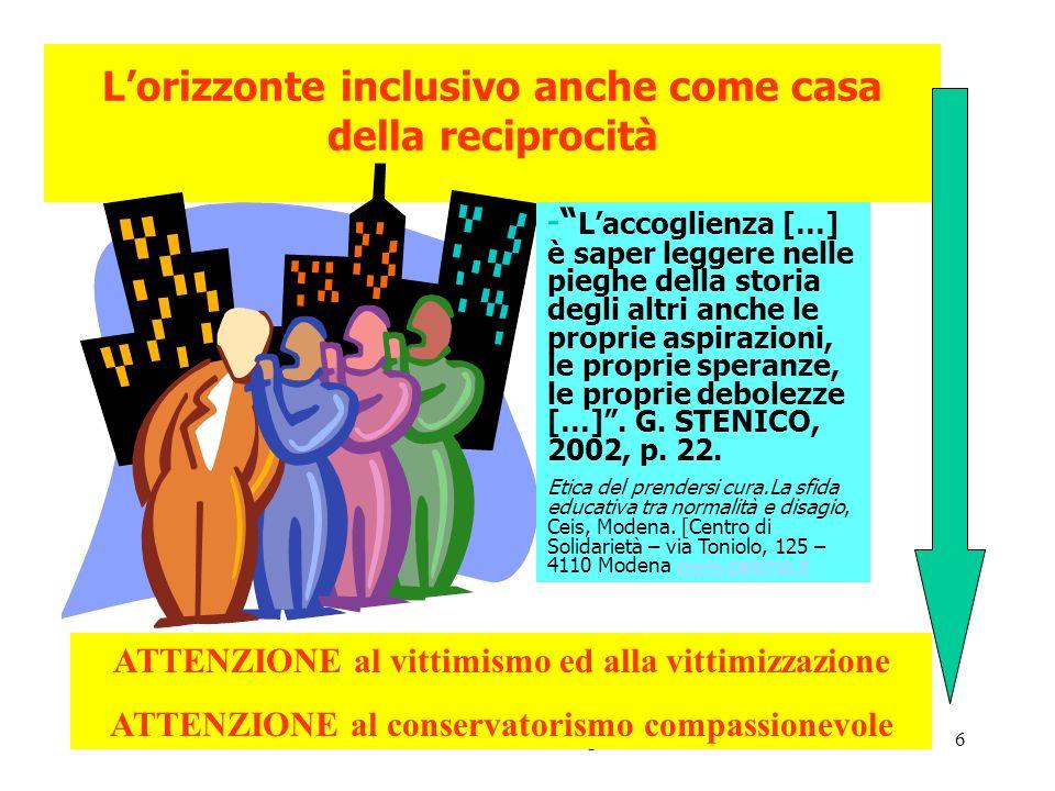 L'orizzonte inclusivo anche come casa della reciprocità