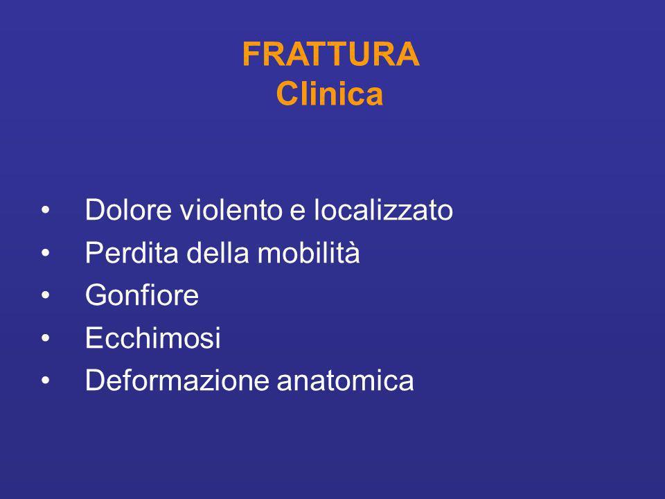 FRATTURA Clinica Dolore violento e localizzato Perdita della mobilità