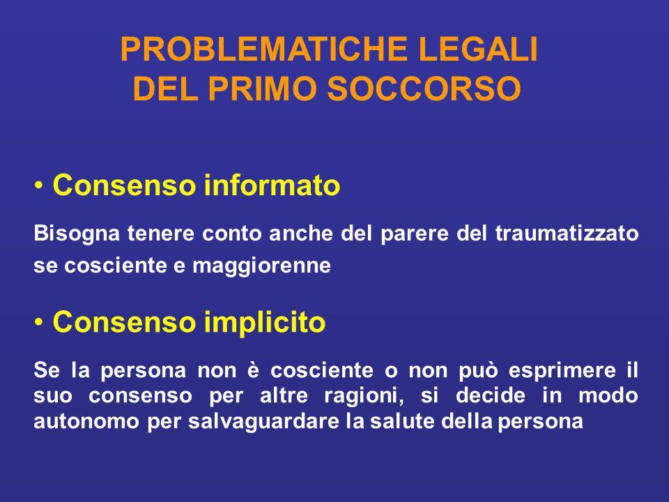DEL PRIMO SOCCORSO Consenso informato Consenso implicito