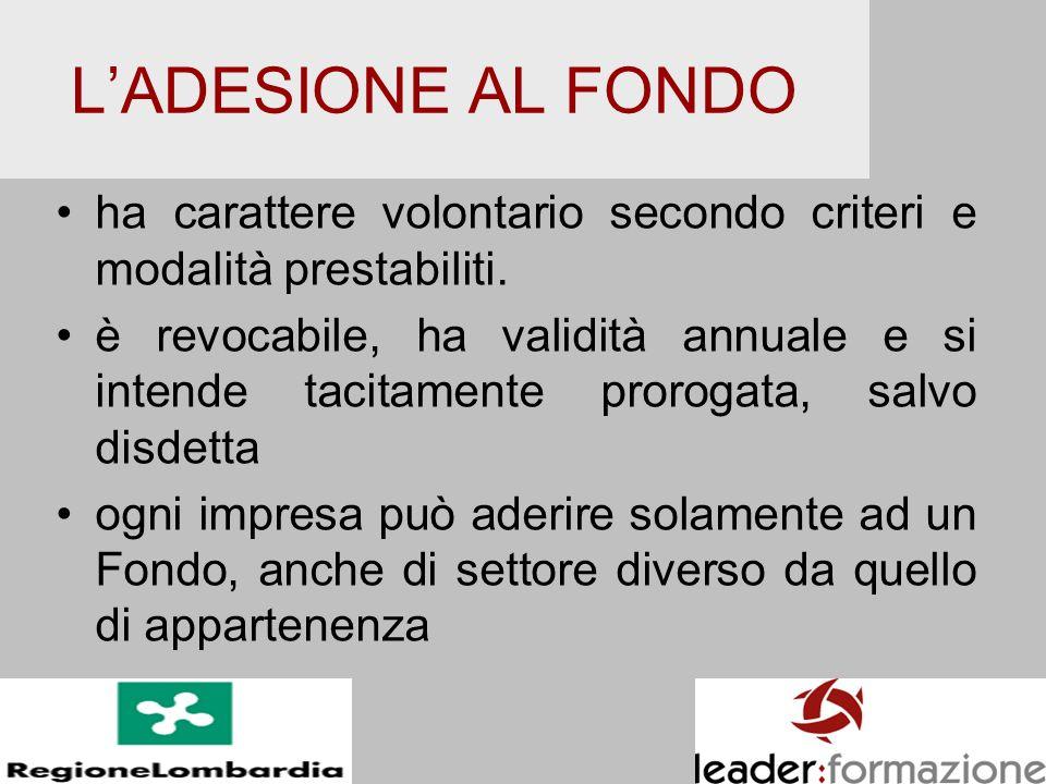 L'ADESIONE AL FONDO ha carattere volontario secondo criteri e modalità prestabiliti.
