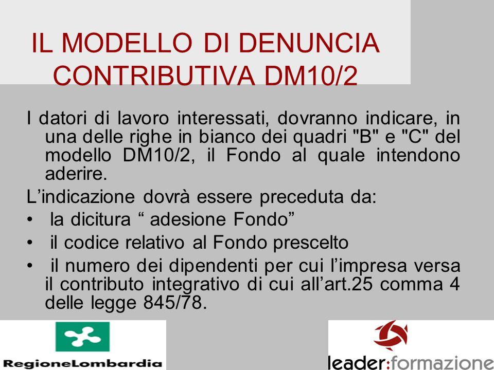 IL MODELLO DI DENUNCIA CONTRIBUTIVA DM10/2